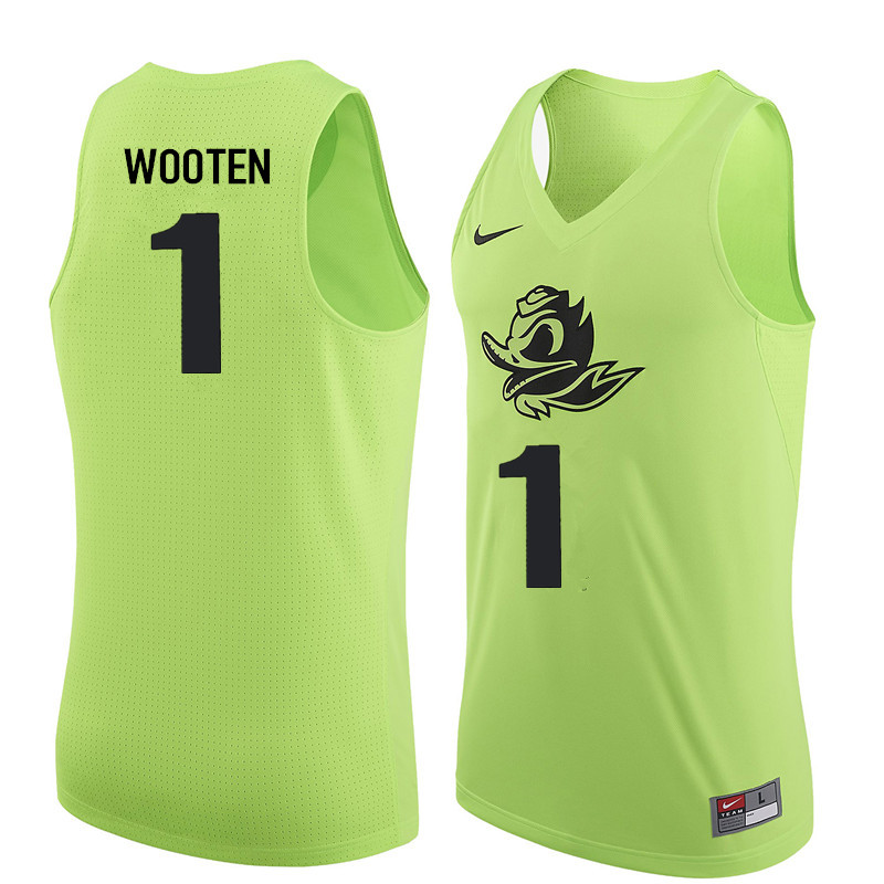 Men #1 Kenny Wooten Oregon Ducks College Basketball Jerseys Sale-Electric Green